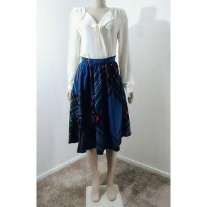 Vintage Blue Plaid Midi Length Skater Skirt